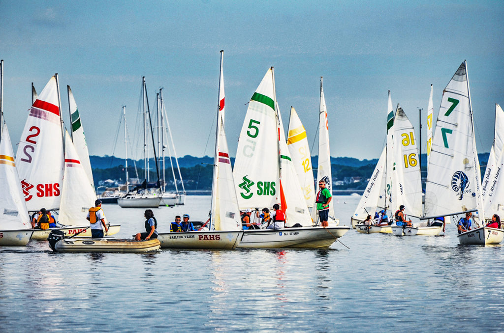 Chatham, Summit and Perth Amboy High School Sailing Teams out on Raritan Bay in Perth Amboy