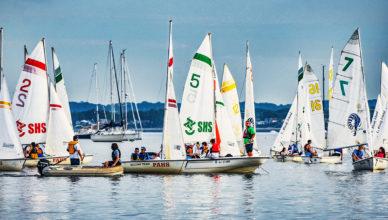 Chatham, Summit and Perth Amboy High School Sailing Teams out on Raritan Bay in Perth Amboy