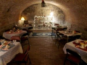 Tea in colonial wine cellar in Proprietary House